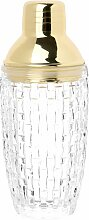 Shaker aus Glas mit Reliefmotiv und goldfarbenem