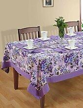 ShalinIndia Bunte Multicolor Baumwolle Frühling Blumen Tischdecken Tische 152 x 228 Cm, lila Rand