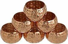 Shalinindia Kupfer Serviette Ringe gehämmert für
