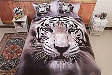 Shamdon Bettwäsche Set Weiß Tiger Stil aus
