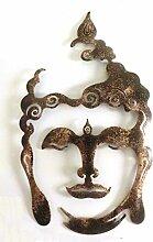 Shamwari Art Buddha-Kopf aus Metall, 50 cm, wetterfest - bronze schwarz, Gartendeko Wanddeko