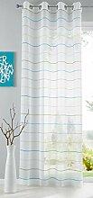 Shangrila Gardine Ösen Querstreifen Design Aydin Schal Transparent Sichtschutz Modern Jacquard HxB 245x140 cm Blau Grün, 10000139