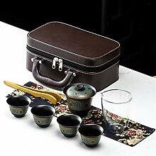 ShanShan Mu Reise-Tee-Set aus Steingut, tragbar,