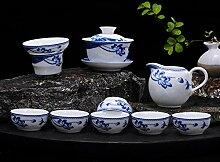 ShanShan Mu Tee-Set aus Porzellan, Blau und Weiß,