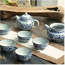 ShanShan Mu Tee-Set mit blauen und weißen