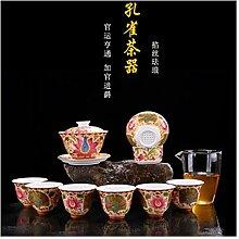ShanShan Mu Tee-Set mit gegrillten Blumen, rote