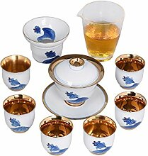 ShanShan Mu Tee-Set mit Teekanne, vergoldet,