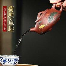 ShanShan Mu Teekanne aus Ton, handgefertigt, Viole