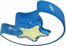 SHAOHUAYING LED Deckenleuchte, Kreative Persönlichkeit Kristall Mond Sterne Hohl Deckenleuchte, Warm Und Schöne Kinder Schlafzimmer Kindergarten Spielplatz Deckenleuchten, Weißes Licht ( Color : Blue )