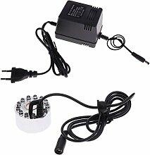 Sharplace 12 LED Ultraschall Brunnen Teich Nebel-Hersteller-Maschine Mist Maker Luftbefeuchter + EU Stecker - Silber