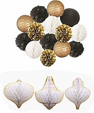 Sharplace 17x Papier Pompom, Honeycomb Wabenball, Hochzeit Party Dekoration