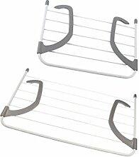 Sharplace 2 Stück Faltbare Wäscherei Trocknen Rack Balkon Kleiderbügel