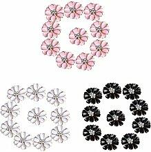 Sharplace 30pcs Metall Blume Strass Knöpfe