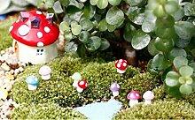 Sharplace 40x Mini Pilz Form Garten Blumentopf DIY Micro-Landschaft Garten Deko Ornamente Zubehör - Blau, 9x11mm