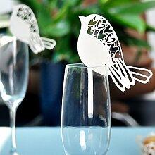 Sharplace 50pcs Weiß Vogel Tischkarten ans Glas