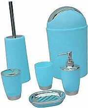 Sharplace Bad Accessoires Set, 6-teilig, Kunststoff, Farbwahl - Blau, 6pcs/Se