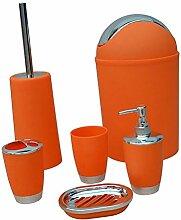 Sharplace Bad Accessoires Set, 6-teilig, Kunststoff, Farbwahl - Orange, 6pcs/Se