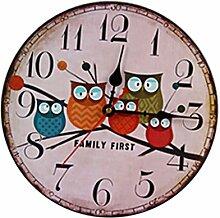 Sharplace Eule Familie Uhr Wanduhr Küchenuhr Ornament für Haus Büro