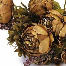Sharplace Künstlich Blumen Pfingstrosen Künstliche Blume Blumenstrauß Für Hochzeit Party Dekor - Kaffee, one size