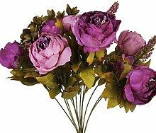 Sharplace Künstlich Blumen Pfingstrosen Künstliche Blume Blumenstrauß Für Hochzeit Party Dekor - Lila, one size