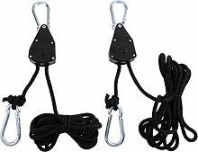 Sharplace Seilratsche bis zu 68kg Tragkraft für Pflanzenlampe aufhängen - Rope Ratchet Seilratsche (2 Stück Packung)