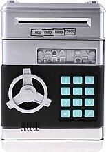Sharplace Tragbar Tresor Form Kasse Münze Sparschwein Gelddose Box mit Musik & Blitzlicht, batteriebetrieben (3 * AAA Batterie) - Silber, C