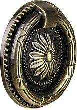 Sharplace Vintage Runde Blumenmuster Single Loch Griffe für Schranktür Schublade Möbel Kommoden - Gold, L