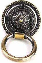 Sharplace Vintage Runde Blumenmuster Single Loch Griffe für Schranktür Schublade Möbel Kommoden - Gold, S