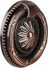 Sharplace Vintage Runde Blumenmuster Single Loch Griffe für Schranktür Schublade Möbel Kommoden - Rot Bronze, L