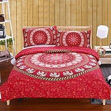 SHASHA 3D-Bettwäsche-Set Rot Mandala Bettwäsche Set Elefant Indisch Bettdecke Decke Wiith Kissenbezüge Weich Marokkanisch Bettwäsche 3Pcs Großhandel,Full203cmx228cm