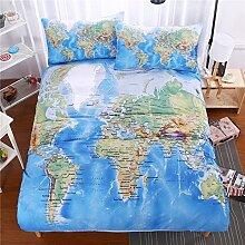 SHASHA 3D-Bettwäsche-Set Welt Karte Bettwäsche