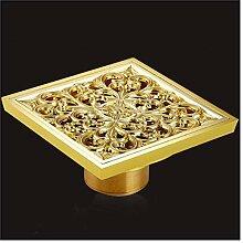 SHDJYR Abflüsse 10X10Cm Quadratisch Gold Messing