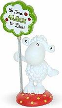 sheepworld 45084 Fotohalter Figurein Stück Glück für Dich, Schaffigur mit Kleeblatt, Geschenkartikel, Dekoartikel, Polyresin, Metall, Rot-Weiß-Grün, 7.5 x 3.5 cm