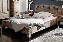 Sheesham Holz massiv Bett 200x200 Massivmöbel Nature Grey #204