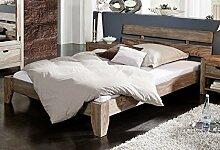 Sheesham Massivholz Bett 180x200 Palisander Holz Möbel Nature Grey #212