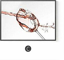 Shell weinglas restaurant einzigen dekorativen banner modernen minimalistischen esszimmer wand esstisch wand wand horizontale version der wein wandmalerei (70 * 50 cm) , c