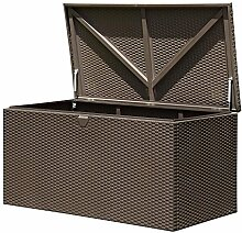 ShelterLogic XXL Kissenbox, Gartenbox, Gartentruhe Espresso 509l Volumen // 132x70x67 cm (LxBxH) // Auflagenbox & Multifunktionsbox