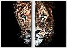 SHENLANYU Leinwandmalerei Tierplakat Wilder Löwe