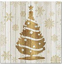 SHENLANYU Weihnachtsfolie Goldgrau Leinwanddrucke