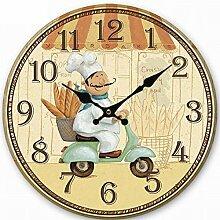 SHFANG Europäische kreative mute Holzuhren 30CM hängende Uhr-Digital-Wanduhr runden Spiegel Wandaufkleber Wandaufkleber Wandaufkleber Wanduhr Wanduhr Lesebrille , 3