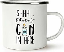 Shhh There's Gin in Here Retro Emaille Becher