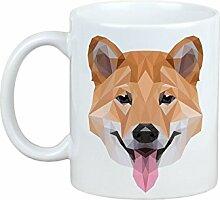 Shiba Inu, Becher mit einem Hund, Tasse, Keramik, neue geometrische Sammlung