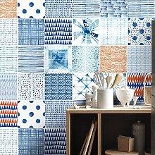 Shibori Aquarell Fliesenaufkleber Japanische Wandkunst Drucken Ideen (Packung mit 24) - 10 x 10 cm