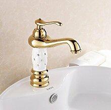 SHIBST Hotel Wasserhahn Vergoldet Wasserhahn Europäischer Stil Waschtischarmatur Heiß Kalt Wasserhahn Diamant-Gold Hahn Schwarz Und Weiß ( Color : White )