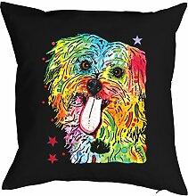 Shih Tzu - Bezug für Kissen - Hunde Neon Pop Art Motiv - Shih Tzu - buntes Hunde Portrait - Motiv Kissenhülle Deko 40x40cm schwarz : )