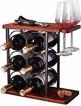 Shikha Rustikales Holz-Weinregal für 6 Flaschen