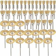 SHINA 45PC Messing Draht Rad Pinsel für Dremel Zubehör Rotary Werkzeuge Polish reinigen