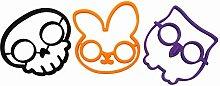 SHINA Lustige Küche Kochen Werkzeuge Silikon Spiegelei Form , Schwarzer Schädel Form, Lila Eule & Orange Kaninchen (3er Set)