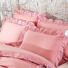shinemoon 2/Set Farbe Home Betten Kissen Fall Baumwolle Kissenbezüge mit Spitze 48,3x 73,7cm, Orangerosa, 19''x29''