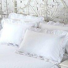 shinemoon 2/Set Farbe Home Betten Kissen Fall Baumwolle Kissenbezüge mit Spitze 48,3x 73,7cm, weiß, 19''x29''